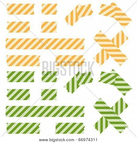 Tape Lined Pattern - Yellow And Green