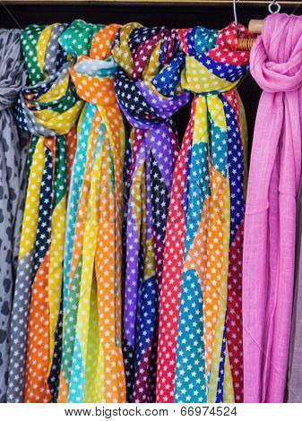 selection of scarves, symbol photo for women's fashion, selection, sale