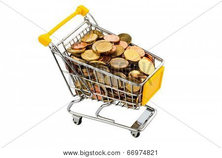 a shopping cart is filled with euro coins, symbolic photo for purchasing power, inflation and consumer