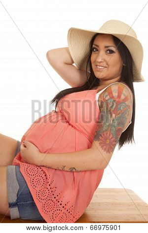 Woman Hat Tattoo Pink Shirt Side Lean Back