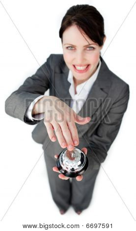 Cheerful Businesswoman Using A Service Bell