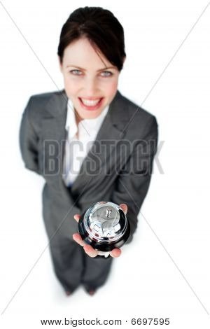 Charming Caucasian Businesswoman Showing A Service Bell
