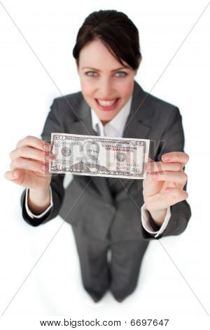 Assertive Businesswoman Showing A Bank Note