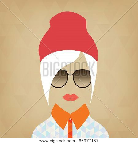 Portrait Of A Beautiful Girl Hipster