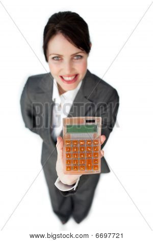 Cheerful Businesswoman Holding A Calculator