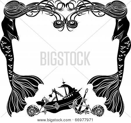 Frame, mermaids weep shipwreck