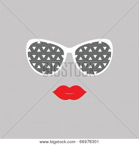 Sunglasses And Lips.  Vector Illustration.  Print For Your T-shirts.