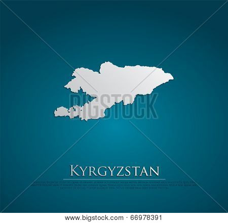 vector Kyrgyzstan Map card paper on blue background, high detailed