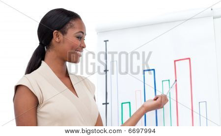 Assertive Afro-american Businesswoman Doing A Presentation
