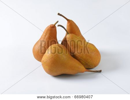 four pears on the white background