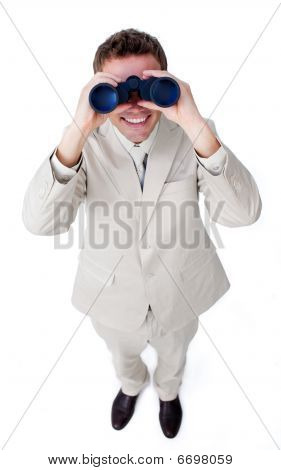 Happy Businessman Looking Through Binoculars