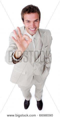 Fortunate Businessman Showing Ok Sign