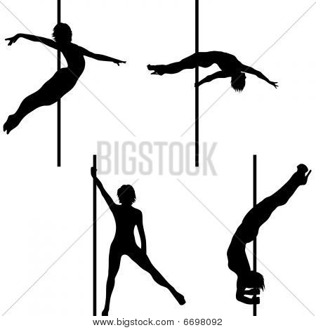 Collection of Pole dance vector silhouettes