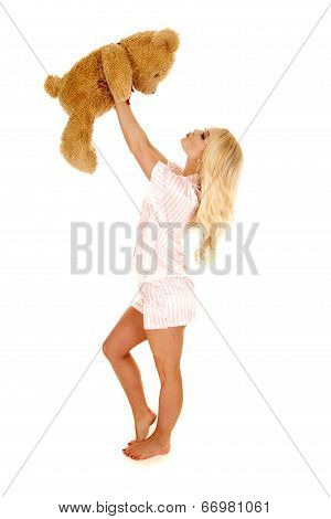 Woman Blond Pajamas Bear Up Kiss At
