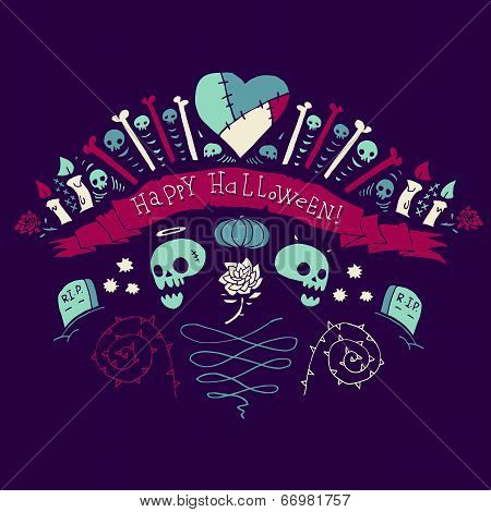 Happy Halloween greeting card.
