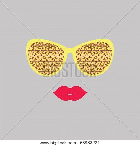 Sunglasses And Lips. Vector. Print For Your T-shirts. Hipster Theme.