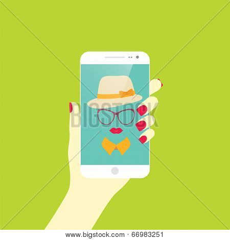 Young Stylish Girl Taking Self Photo Icon. Selfie