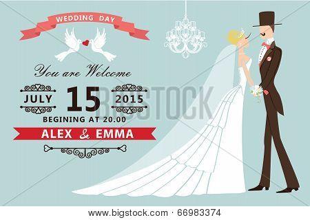 Cartoon Bride Groom.retro Wedding Invitation