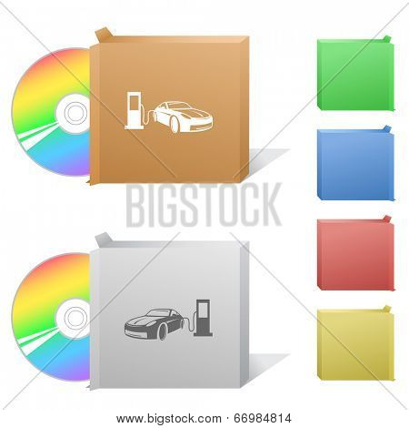 Car fueling. Box with compact disc.