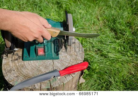 Hand Grinder Knife With Electric Tool Outdoor Log