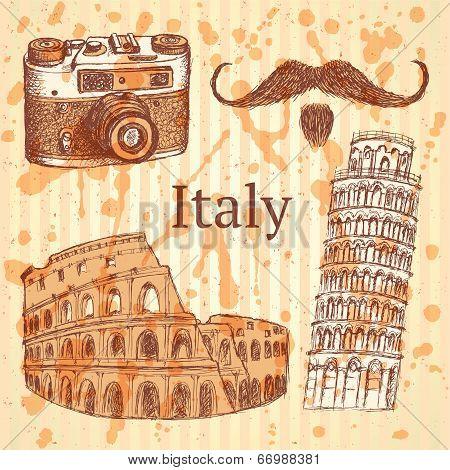 Sketch Italy Set, Vector Vintage Background