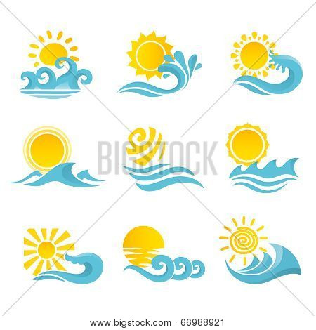 Waves Sun Icons Set