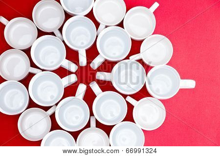 Coffee And Tea Cups In A Flower Pattern