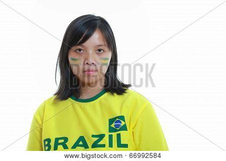 Female Soccer Fan Brazil