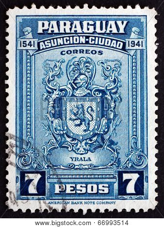 Postage Stamp Paraguay 1942 Arms Of Irala, Spanish Conquistador