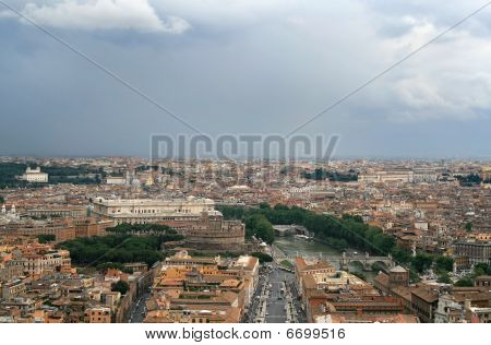 Panoramic view of the roofs of Rome