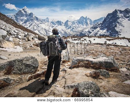Trekker Walking the Everest Base Camp Trek, Everest Region, Nepal
