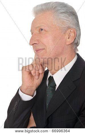 Elderly thoughtful businessman