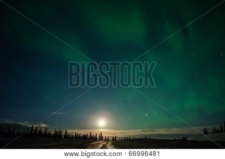 Full Moon And Aurora