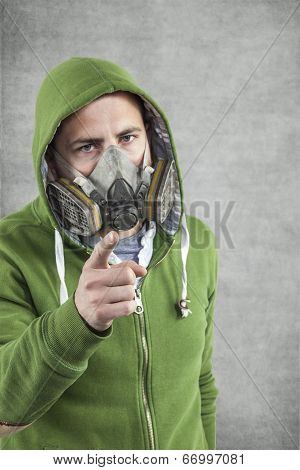 Young Boy In The Mask Pointing At You