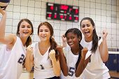 pic of netball  - Members Of Female High School Volleyball Team - JPG