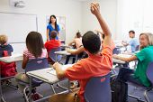 image of 13 year old  - Female High School Teacher Taking Class - JPG