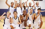picture of 13 year old  - Portrait Of High School Sports Team In Gym - JPG