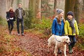stock photo of 7-year-old  - Family Walking Dog Through Winter Woodland - JPG