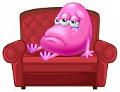 image of sob  - Illustration of a crying monster sitting on a red sofa on a white background - JPG