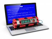 stock photo of time-bomb  - Business laptop or office notebook computer PC with error message on blue screen and time bomb on keyboard isolated on white background - JPG