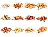 stock photo of ground nut  - Collection of nuts and dried fruits on white background - JPG
