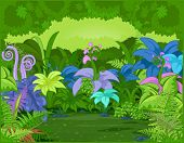 stock photo of jungle flowers  - Jungle landscape with different plants and flowers - JPG