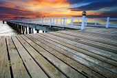 foto of sea-scape  - wood piers and pavillion sea scene with dusky sky use for natural background backdrop - JPG