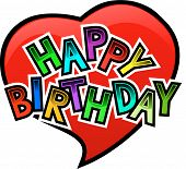 picture of happy birthday card  - Happy birthday Graffity on Heart with Love - JPG