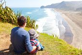 picture of sea lion  - back view of family sitting at the top of lion rock at piha beach new zealand - JPG