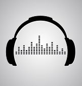 image of beat  - headphones icon with sound wave beats - JPG