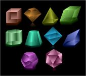 stock photo of dodecahedron  - Different color glass figures on balack background - JPG