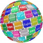 image of dialect  - international languages sphere tiles English - JPG