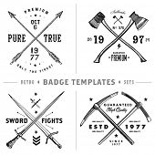 stock photo of crossed swords  - Vector retro anchor badge template set - JPG