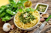 picture of pesto sauce  - italian traditional linguine pasta by genovese pesto sauce - JPG